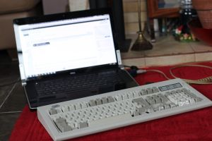 The Model M next to my laptop