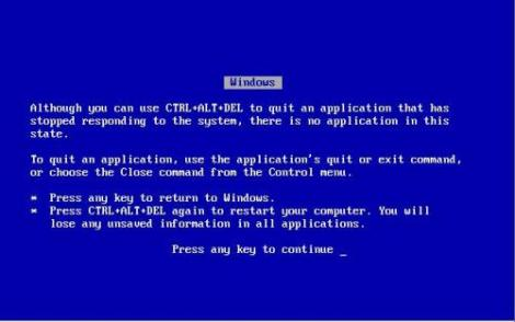The dreaded blue screen...