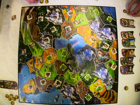 The Smallworld board, just before we had to move and make room for Yu-Gi-Oh tournament