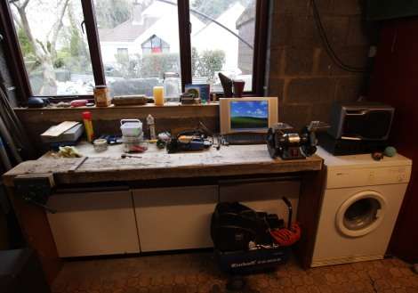 The workbench as it stood in April last year. It has gotten a lot busier since that picture.