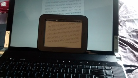 My improvised e-ink display, with the Nook Simple Touch