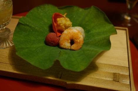 Prawn with mullet roe, bayberry, taro, and sweetcorn tempura