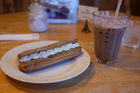 Matcha éclair and iced chocolate