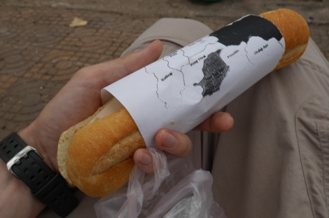 The baguette with an interesting map wrapping
