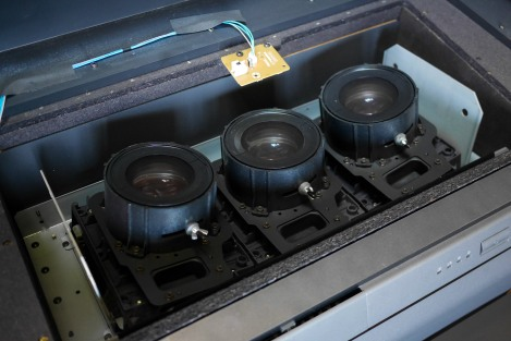 The lenses in situ, on top of the CRTs