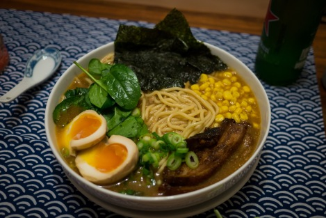 Miso ramen with nori, sweetcorn, spring onions, spinach, pork belly, and soy eggs
